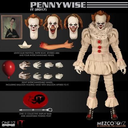 Mezco uno: 12 colectiva figura acción de ti Pennywise