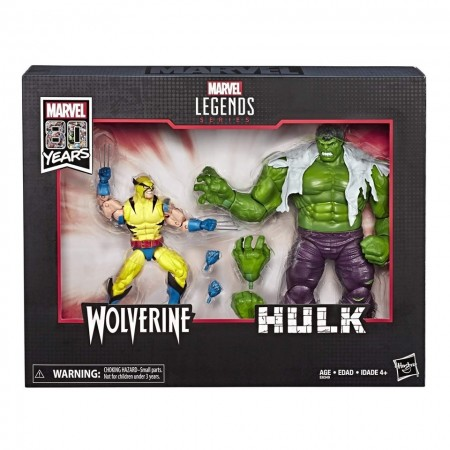 Marvel Legends 80th Anniversary Hulk Vs Wolverine 2 Pack USA Packaging