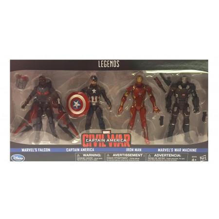 Marvel Legends Guerra Civil 4 Pack - máquina de guerra, halcón, Cap y Iron Man