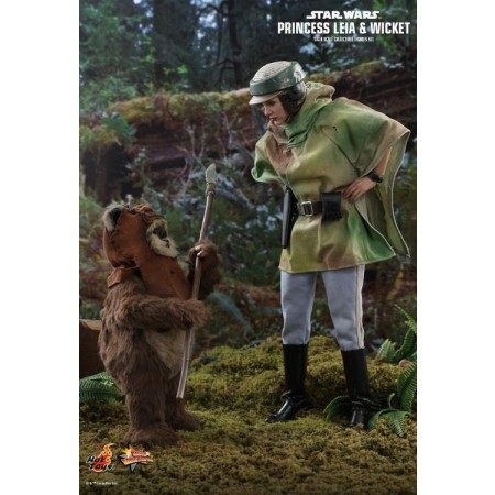 Hot Toys Star Wars Return Of The Jedi Princess Leia & Wicket The Ewok 1/6 Scale Figures MMS551