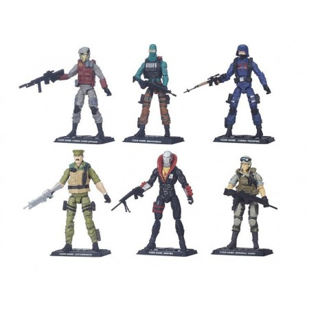 GI Joe 50th Anniversary Outnumbered Team Packs 01 and 02. Packs contain Beachhead, Cobra Viper, Cobra Trooper, Destro, Leatherneck and Hawk. Ages 5 and up.