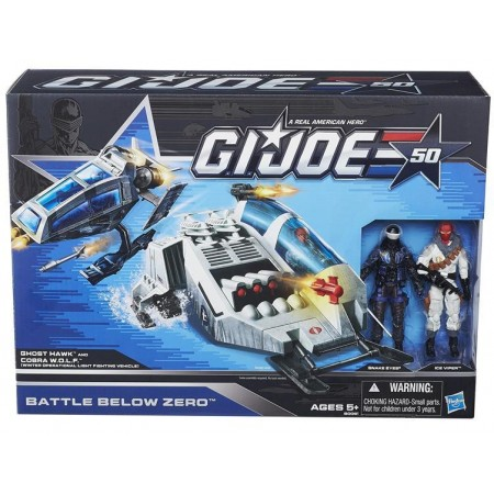 GI Joe 50th Anniversary  Battle Below Zero Vehicle Pack. Comes complete with Cobra Wolf, Snake Eyes, Arctic Sky Hawk and Cobra Wolf. Ages 16 and up.