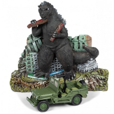 Johnny Lightning 1:64 Willys MB Jeep con Godzilla Diorama