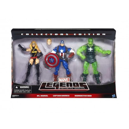 Marvel Legends 3 infinito paquete Ms Marvel, hombre radiactivo y Capitán América