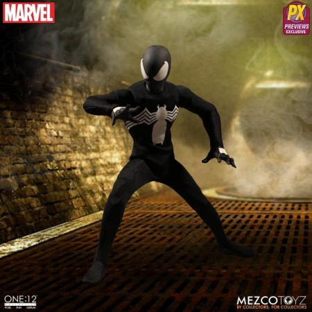 Mezco One:12 Collective Black Spider-Man PX Previews Excl