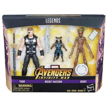 Marvel Legends Infinity War 3 Pack Thor Rocket & Groot