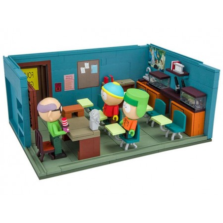 South Park Large Construction Set - Mr. Garrison, Kyle & Cartman With The Classroom