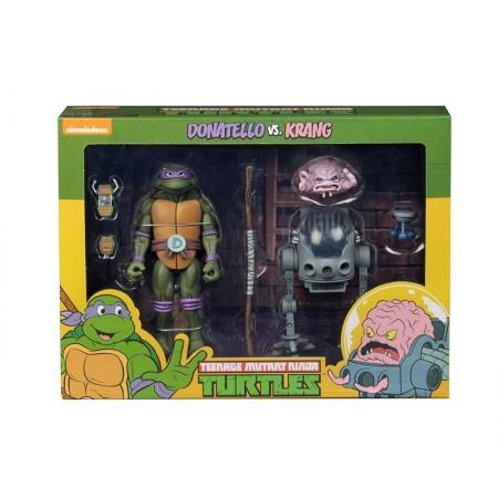 NECA TMNT Adolescente Mutante Ninja Tortugas Donatello Vs Krang Cartoon 2 Pack