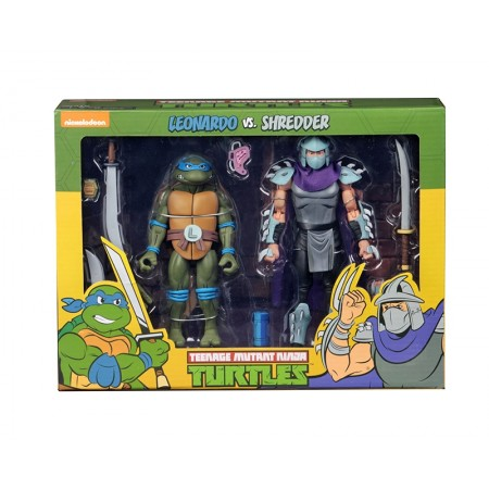 NECA TMNT Leonardo vs Shredder Cartoon 2 Pack