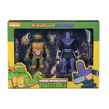 NECA TMNT Michelangelo Vs Foot Soldier Cartoon 2 Pack