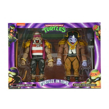 NECA Teenage Mutant Ninja Turtles In Time Pirate Bebop and Rocksteady Action Figure 2 Pack