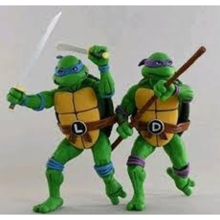 NECA TMNT Ninja Turtles Leonardo & Donatello Cartoon 2 Pack