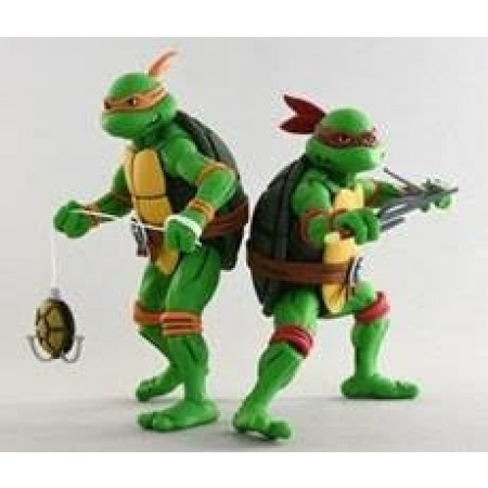 NECA TMNT Ninja Turtles Michelangelo & Raphael Cartoon 2 Pack