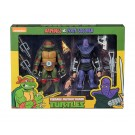NECA TMNT Adolescente Mutante Ninja Tortugas Raphael Vs Foot Soldier Cartoon 2 Pack