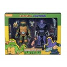 NECA TMNT Adolescente Mutante Ninja Tortugas Michelangelo Vs Foot Soldier Cartoon 2 Pack